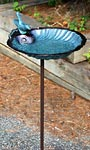Achla Scallop Shell Bird Bath and Stake, Verdigris