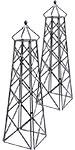 "Achla Lattice Obelisks, Graphite, 67"", Pack of 2"