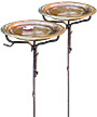 Ancient Graffiti Solid Copper Bird Baths w/Stakes, Pack of 2