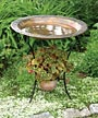Ancient Graffiti Steel Bird Bath and Stand, Copper Plated