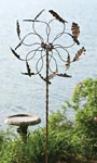 "Ancient Graffiti Kinetic Oak Leaf Spinner, Brown, 75""H"