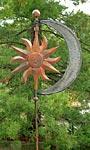 "Ancient Graffiti Kinetic Celestial Spinner, Copper, 69""H"