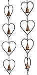 Ancient Graffiti Hearts and Bells Rain Chains, Pack of 2