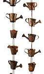 Ancient Graffiti Watering Can Rain Chains, Copper, Pack of 2