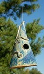 Anthony Stoneware Cone Hanging Bird House, French Blue