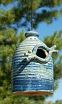 Anthony Stoneware Bird House, Medium, French Blue