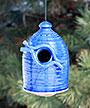 Anthony Stoneware Bird House, Medium, Royal Blue