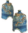 Anthony Stoneware Toad Houses, French Blue, Pack of 2