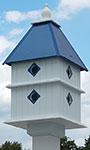 Wing & A Prayer Plantation Bird House, Cobalt Blue Roof