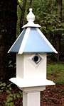 Wing & A Prayer Team Colors Bird House, Light Blue and White