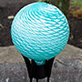 "BirdBrain Geometric Ripples Gazing Ball, Teal/White, 10"" dia"