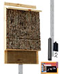 Single Chamber Bark Clad Bat House and Pole Kit, 100 bats