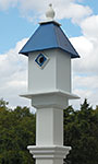 Classic Bluebird House & Mounting Post, Cobalt Blue Roof