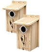 BestNest Classic Three-Woodpecker Houses, Pack of 2