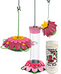 Nature's Way Hummingbird Feeder Package with Nectar, Pink
