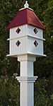 Plantation Bird House and Decorative Mounting Post, Merlot