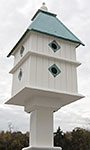 Plantation Bird House & Decorative Mounting Post, Verdigris