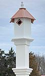 Bluebird Hexagonal House & Mounting Post, Hammered Copper