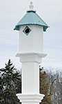 Bluebird Hexagonal House & Mounting Post, Verdigris Roof