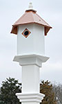 Sycamore Bird House & Decorative Mounting Post, Copper Roof