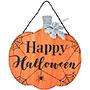 "Happy Halloween Wooden Pumpkin Wall Art, Orange, 16""W"