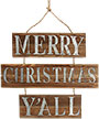 "Merry Christmas Y'all Wooden Wall Art, Brown, 25.75""W"