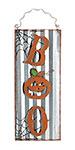 """Boo Tin Wall Art, Gray and Orange, 7.625""""W x 18.375""""H"""