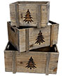 Rustic Christmas Tree Planters, Brown, Set of 3