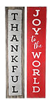 """Thankful/Joy to the World Reversible Sign, Gray & Red, 7.5""""W"""