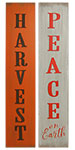 "Harvest/Peace on Earth Reversible Sign, Orange & Gray, 7.5""W"
