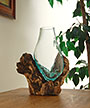 Cohasset Molten Glass Narrow Vase and Natural Wood Base