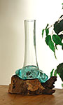 Cohasset Molten Glass Skinny Luminary Vase & Wood Sculpture