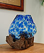 Cohasset Md Molten Glass Blue Accented Bowl & Wood Sculpture