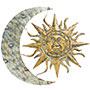 """Gardman Aztec Sun and Moon Wall Art, Aged Gold, 26""""W x  24""""H"""