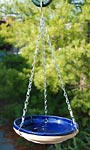 Gardman Mini Glazed Bird Bath, Blue