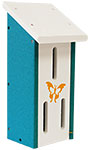 Polywood Recycled Plastic Butterfly House, White and Teal