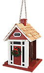 Home Bazaar Bellport Cottage Bird Feeder, Holiday, Red