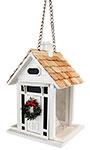 Home Bazaar Bellport Cottage Bird Feeder, Holiday, White