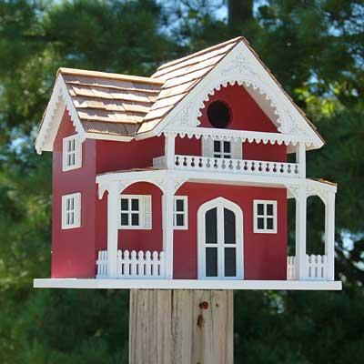 Home Bazaar Shelter Island Summer Cottage Bird House, Red at