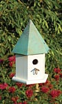 Heartwood Copper Songbird House, Verdigris Roof
