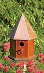 Heartwood Copper Songbird House, Mahogany with Copper