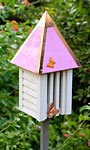 Heartwood Flutterbye House & Pole, Pink Roof