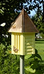 Heartwood Flutterbye House & Pole, Solid Copper Roof, Yellow