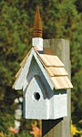 Heartwood Classic Chapel Bird House, White Crackle