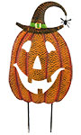 Land & Sea Metal Giant Jack-O-Lantern w/Witch Hat Yard Art