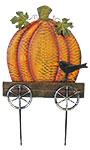Land & Sea Metal Pumpkin in a Cart Yard Art