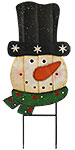 Land & Sea Metal Snowman with Hat and Scarf Yard Art