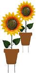 Land & Sea Metal Single Potted Sunflower Yard Art, Pack of 2