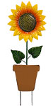 Land & Sea Metal Single Potted Sunflower Yard Art