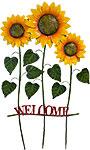 Land & Sea Tall Metal Triple Sunflowers Welcome Yard Art